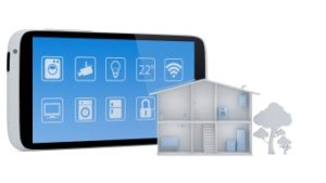 Smart house concept with smartphone app control panel - 3D Render
